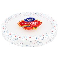 """Great Value Everyday Paper Dinner Plates, 10 1/16"""", 40 Count"""