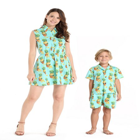 Matching Mother Son Hawaiian Luau Outfit Women Shirt Dress Boy Shirt Shorts Halloween Pineapple Skull S-4 - Halloween Outfits For Pregnant Women