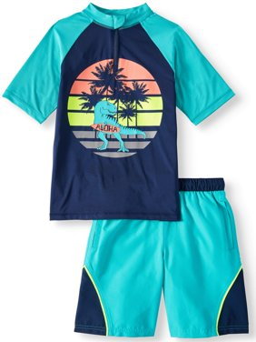 Short Sleeve Rash Guard & Swim Trunk, 2-Piece Outfit Set (Little Boys, Big Boys, & Husky)