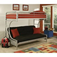 Eclipse Twin XL Over Futon Metal Bunk Bed, Silver