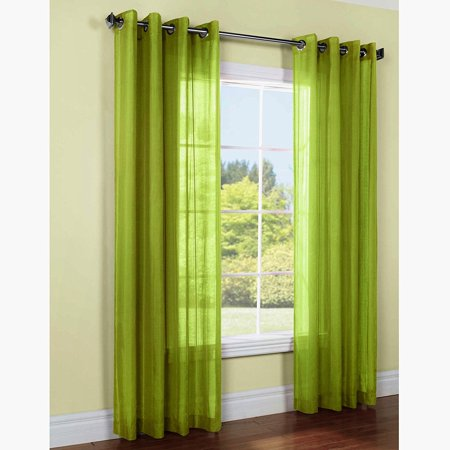 Lime Green Zebra - 1 PANEL MIRA  SOLID LIME GREEN SEMI SHEER WINDOW FAUX SILK ANTIQUE BRONZE GROMMETS CURTAIN DRAPES 55 WIDE X 108