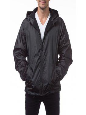 Pro Club Men's Fleece Lined Windbreaker Jacket, Small, Black