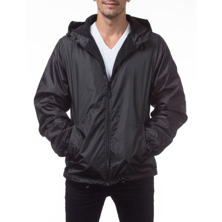Pro Club Men's Fleece Lined Windbreaker Jacket, Small, Black (Black Transition Tall Jackets)