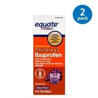 (2 Pack) Equate Childrens Ibuprofen Grape Suspension, 100 mg, 4 Oz