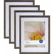 "Mainstays Linear 11"" x 14"" Matted to 8"" x 10"" Rustic Frame, Set of 4"
