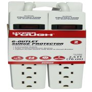 Hyper Tough 2 Pack 6-Outlet 2.5FT Surge Protector, White