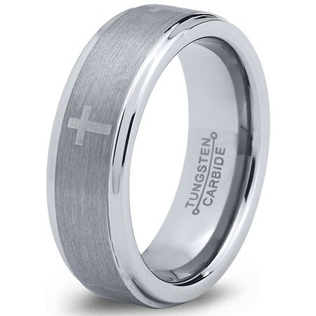 Tungsten Wedding Band Ring 6mm for Men Women Comfort Fit Christian Cross Step Beveled Edge Brushed Lifetime Guarantee Christian Cross Wedding Band