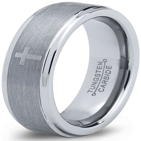Tungsten Wedding Band Ring 6mm for Men Women Comfort Fit Christian Cross Step Beveled Edge Brushed Lifetime Guarantee