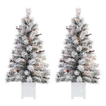 Set of 2 Holiday Time Pre-Lit Flocked Potted Tree Christmas Decoration