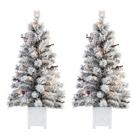 Holiday Time Pre-Lit Flocked Tree Christmas Decoration Set of 2 Deals
