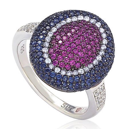 Suzy Levian Sterling Silver Cubic Zirconia American-Inspired Multi Color Ring