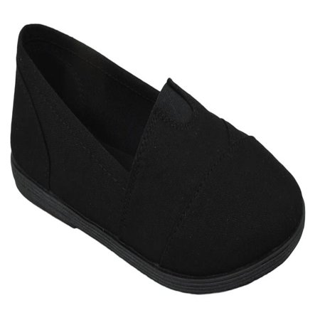 Soda Flat Women Shoes Linen Canvas Slip On Loafers Memory Foam Gel Insoles OBJI-S All Black (Skull Slip On)
