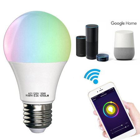 Google Lcd (Smart Light Bulb, Wifi Light Bulb Color Changing LED Bluetooth Light Bulbs APP Remote Controlled Home Lamp Compatible with Alexa Google Home Assistant )