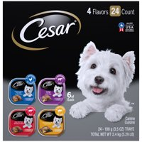 CESAR Wet Dog Food Loaf in Sauce Rotisserie Chicken, Filet Mignon, Angus Beef, and Ham & Egg Flavors Variety Pack, (24) 3.5 oz. Trays