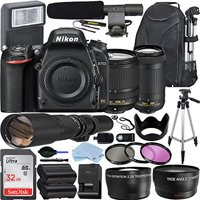 Nikon D750 DSLR Camera with AF-S DX NIKKOR 18-140mm + 70-300mm VR Nikkor Zoom Lens + 500mm Preset Lens + 32GB SanDisk Memory Card + Deluxe Bundle
