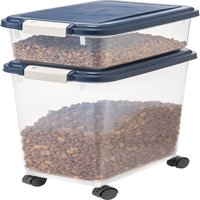 IRIS Airtight Pet Food / Treat Storage Container Combo, Blue