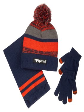 ece9fee3736 Product Image Sportoli Men s and Boys  Kids 3-Piece Striped Knit Cold  Weather Accessory Set Warm