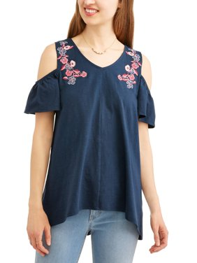 Women's Cold Shoulder Top with Embroidery