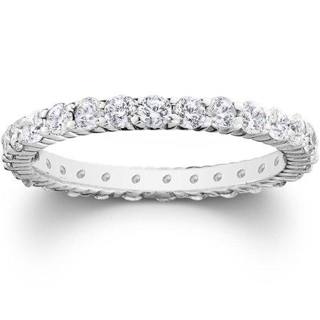 1ct Prong Diamond Eternity Womens Wedding Stackable Ring 950 Palladium