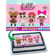 LOL SUPRISE Edible Image Cake Topper Personalized Birthday 1/4 Sheet Decoration Custom Sheet Party Birthday Sugar Frosting Transfer Fondant Image Edible Image for cake