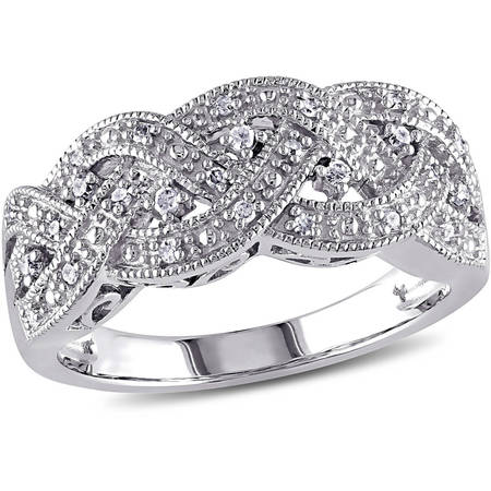 1/8 Carat T.W. Diamond Sterling Silver Braid Ring