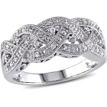 - 1/8 Carat T.W. Diamond Sterling Silver Braid Ring