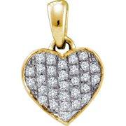 10K Yellow Gold 0.10ctw Fancy Shiny Fashion Pave Diamond Ladies Heart Pendant
