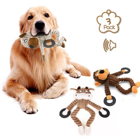 Squeaky Toys for Puppies, Value 3 Pack Set of Dog Chew Toy for Teething Chewing and Playtime, No Stuffing Plush Animal Dog Toy Set for Small Medium Large Dog
