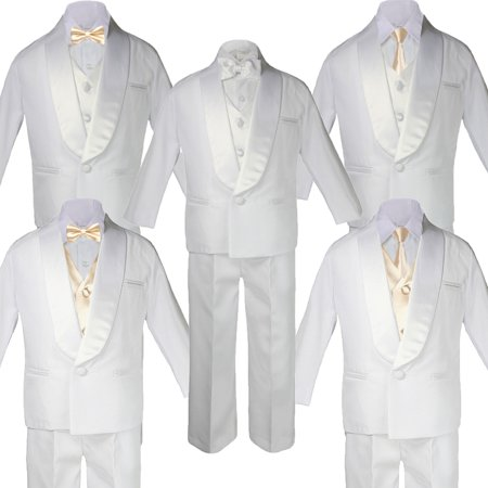 5-7pc Boys White Satin Shawl Lapel Suits Tuxedo CHAMPAGNE Satin Bow Necktie (Fall Out Boy Champagne For My Real Friends)