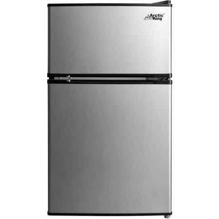 - Arctic King 3.2 Cu Ft Two Door Mini Fridge with Freezer, Stainless Steel