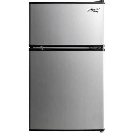 Arctic King 3.2 Cu Ft Two Door Mini Fridge with Freezer, Stainless - Smooth Black Refrigerator