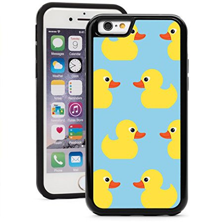 For Apple iPhone 6 Plus 6s Plus Shockproof Impact Hard Soft Case Cover Yellow Ducks (Black) ()