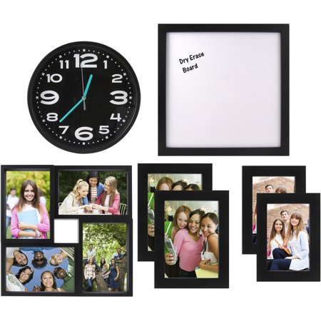 Crystal Pink Frame (7-Piece Frame, Clock & Room Decor Solution Set - Perfect for Dorm or Small Spaces)