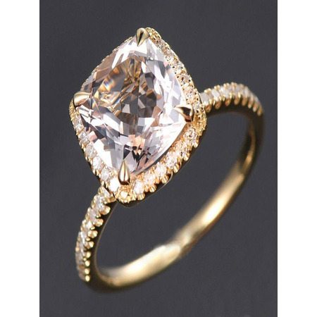 1.50 Carat Cushion Cut Peach Pink Morganite and Diamond Halo Engagement Ring in 10k Yellow Gold for Women on