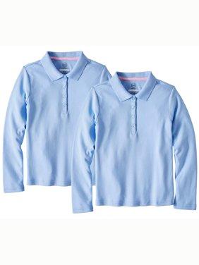 Girls School Uniform Long Sleeve Interlock Polo, 2-Pack Value Bundle