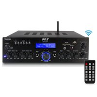 Pyle PDA65BU Compact Home Theater Amplifier Stereo Receiver with Bluetooth Wireless Streaming, MP3/USB/SD/AUX/FM Radio, AV Inputs (200 Watt)