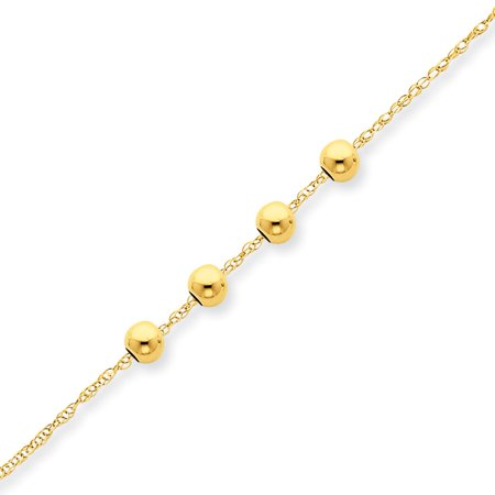 - 14k Yellow Gold 4 4mm Bead Chain Necklace Pendant Charm Station