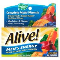 Alive! Men's Energy Multivitamin Supplements, Fruit and Veggie Blend, 50 Count