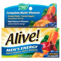 Alive! Men's Energy Multivitamin Supplements, Fruit and Veggie Blend, 50 Count