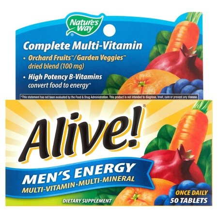 Alive! Mens Energy Multivitamin Supplements Fruit and Veggie Blend 50 Count Day Energy Multi Vitamin