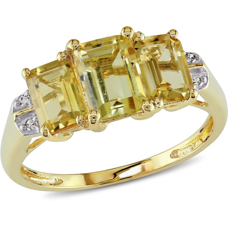 Yellow Gold 3 Stone Ring (2-1/3 Carat T.G.W. Citrine and Diamond-Accent 10kt Yellow Gold Three Stone)
