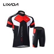 3c4f15753 Men Breathable Quick Dry Comfortable Short Sleeve Jersey + Padded Shorts  Cycling Clothing Set Riding Sportswear