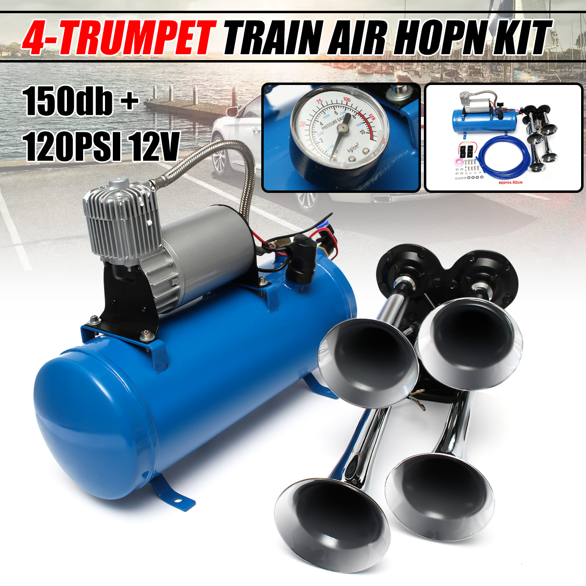 Vixen Horns Universal Compact//Mini Air//Train Horn Compressor 14-18 PSI 12V VXA7223