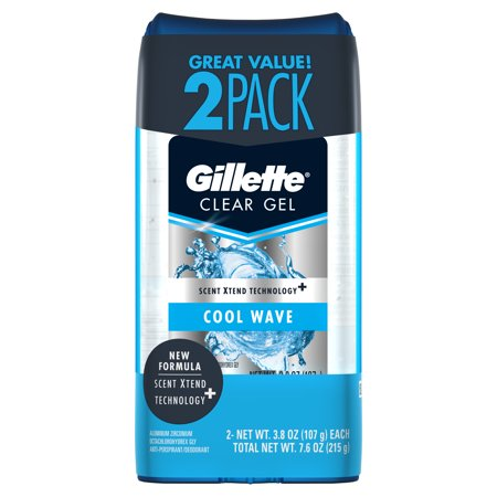 - Gillette Cool Wave Clear Gel Mens Antiperspirant and Deodorant 3.8 oz each 2-Pack