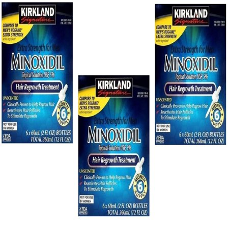 Kirkland Minoxidil 5% Topical Solution Extra Strength Hair Regrowth Treatment for Men (18 month - Men Topical Solution