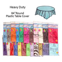 "(6-pack) Heavy Duty Plastic Table Covers Tablecloth (Reusable) (Round 84"")"