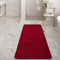 Ottomanson Luxury Non-Slip Rubber Backing Solid Shag Area Rugs and Runners for Kitchen and Bathroom Mat