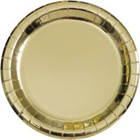 Gold Foil Paper Dinner Plates, 9in, 8ct