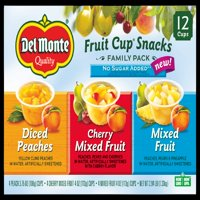 (12 Cups) Del Monte Fruit Cup Snacks No Sugar Added Variety Pack, 4 oz cups