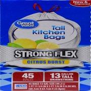 Great Value Strong Flex Tall Kitchen Drawstring Trash Bags, Citrus Burst, 13 Gallon, 45 Count